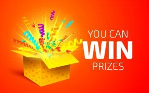 Yellow box with giveaway prizes