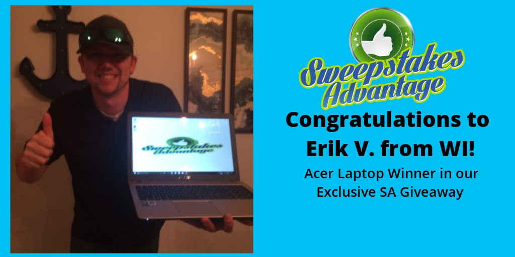 erik thumbs up from sweepstakes prize win