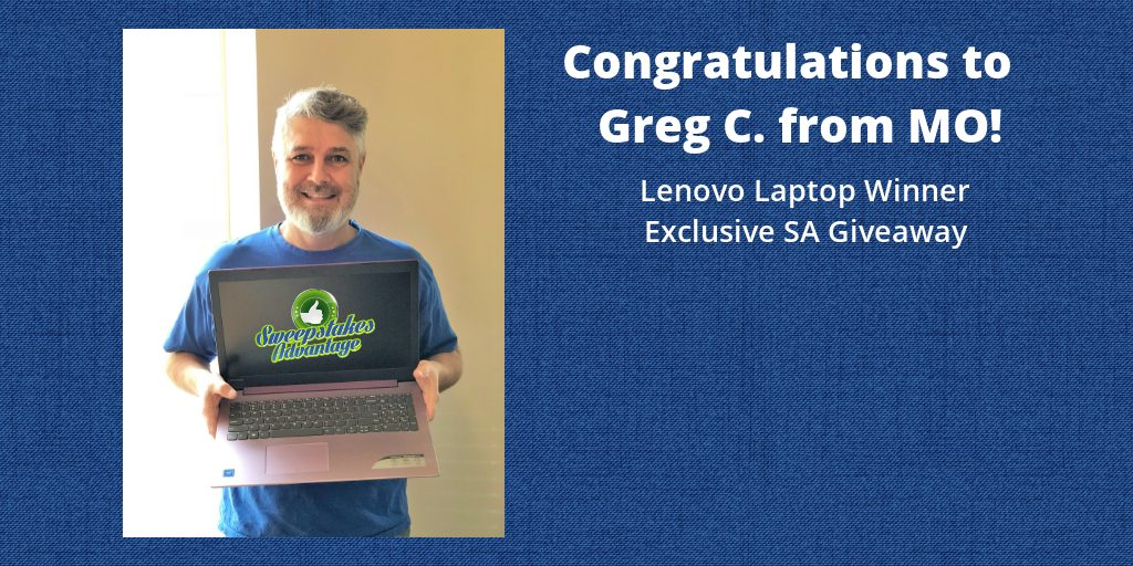Greg with his new laptop