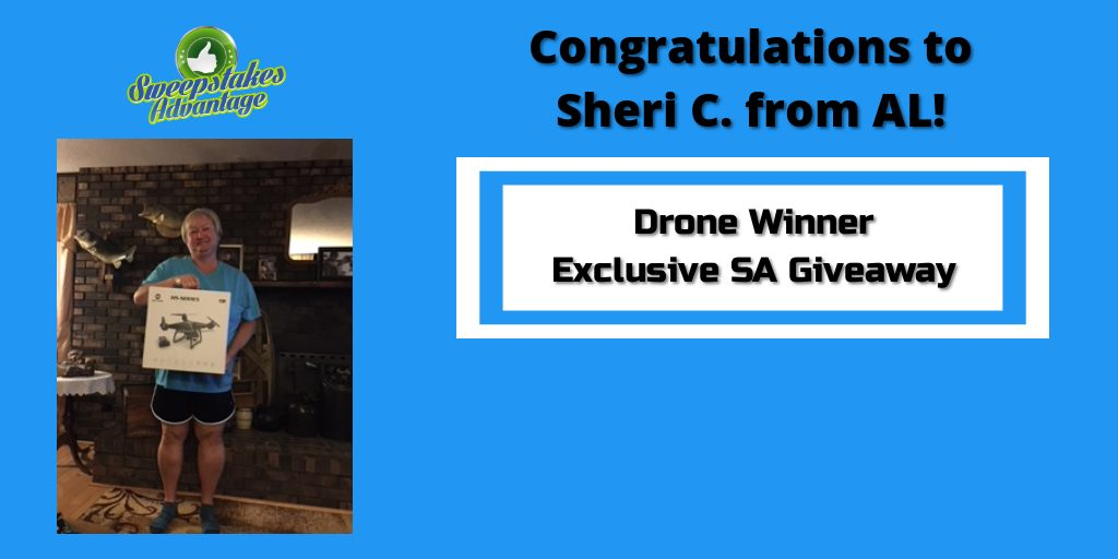 sheri with her new drone prize